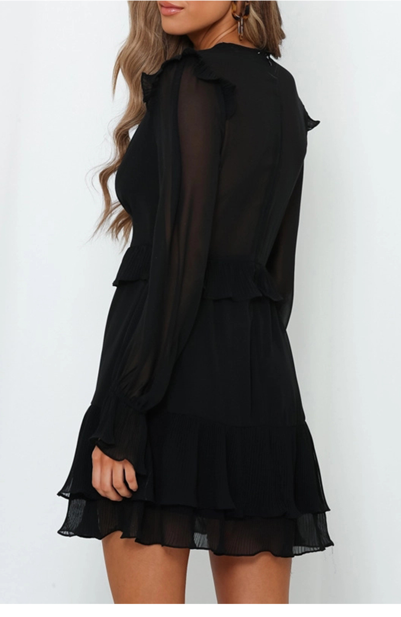 DICLOUD Sexy V Neck Ruffle Mini Party Dresses Black Women Long Sleeve Chiffon Dress 19 Autumn Elegant Christmas Clothing 6