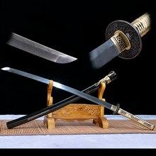 Espadas samuraj Japonés Katana Acero Plegado Damasco Hoja Lista dla Batalla, De Corte Afilados Prácti