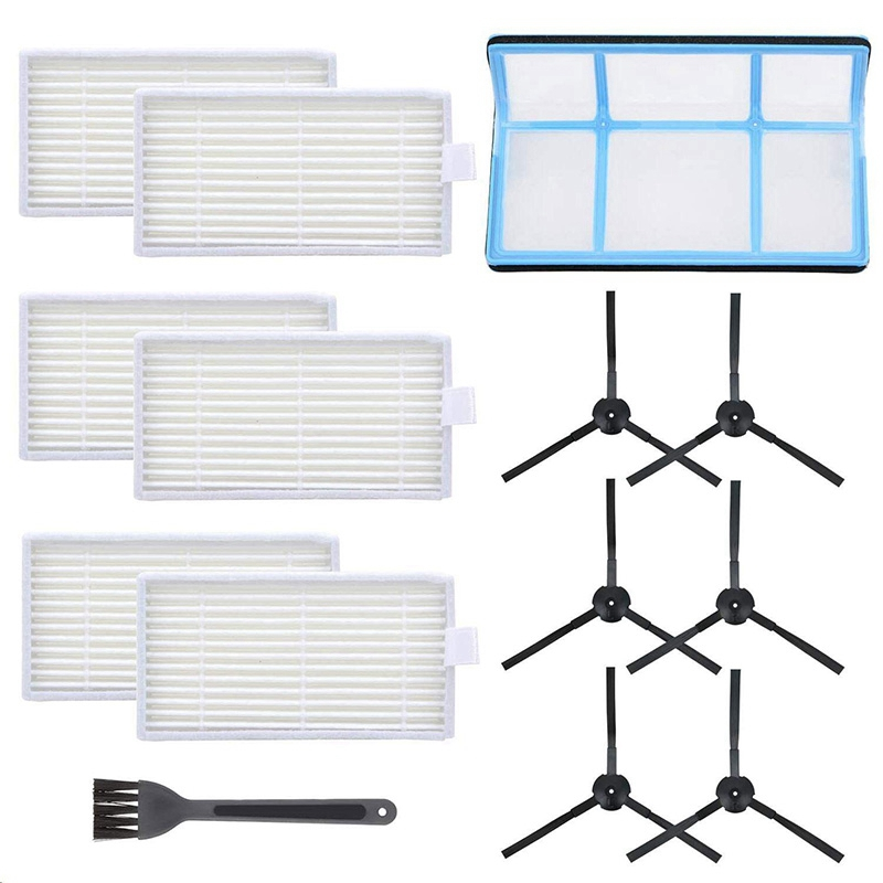 Vacuum Filter Kit Replacement For Robotic Vacuum Ilife V3 V3S V5 V5SPro Robot Vacuum Cleaner Filters And 6 Side Brushes And 1 P