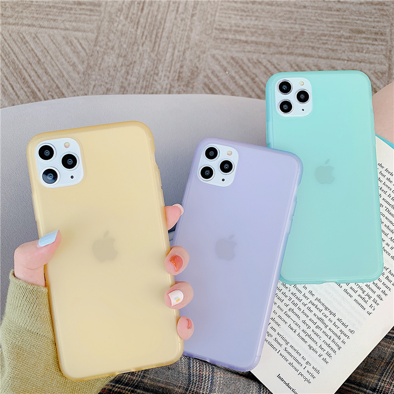Soft Liquid <font><b>Silicone</b></font> Frosted Matte <font><b>Case</b></font> For <font><b>iPhone</b></font> XR X XS Max 11 Pro Max 6 6S <font><b>7</b></font> 8 Plus Candy Color Translucent Phone Cover image