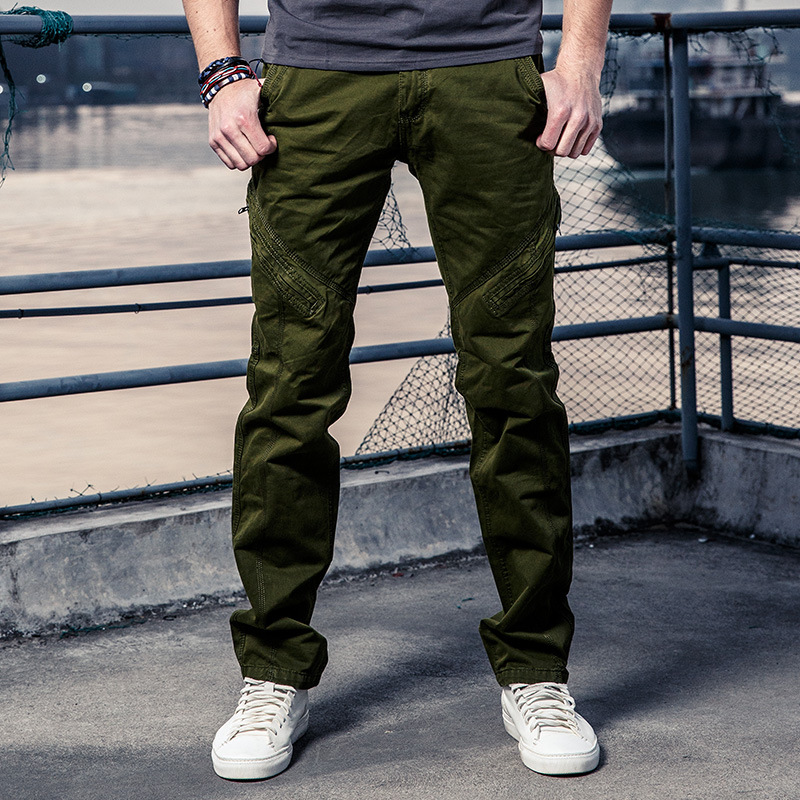 Green Work Pants Men's Cargo Pants Multi Pocket Side Zipper Parkour Sweatpants Outdoors Pants Men Casual Cotton Long Trousers