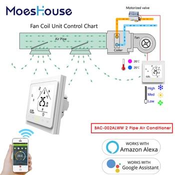 цена на WiFi Central Air Conditioner Thermostat Temperature Controller Fan Coil Unit Works Amazon Alexa Echo Google Home 2 Pipe Tuya