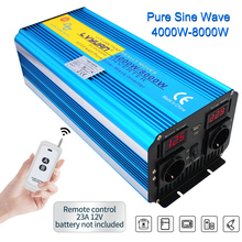 8000W Auto Power Inverter Dc 12V / 24V Naar Ac 220V 230V 2240V Led voltage Display Zuivere Sinus Omvormer Universele Eu Socket