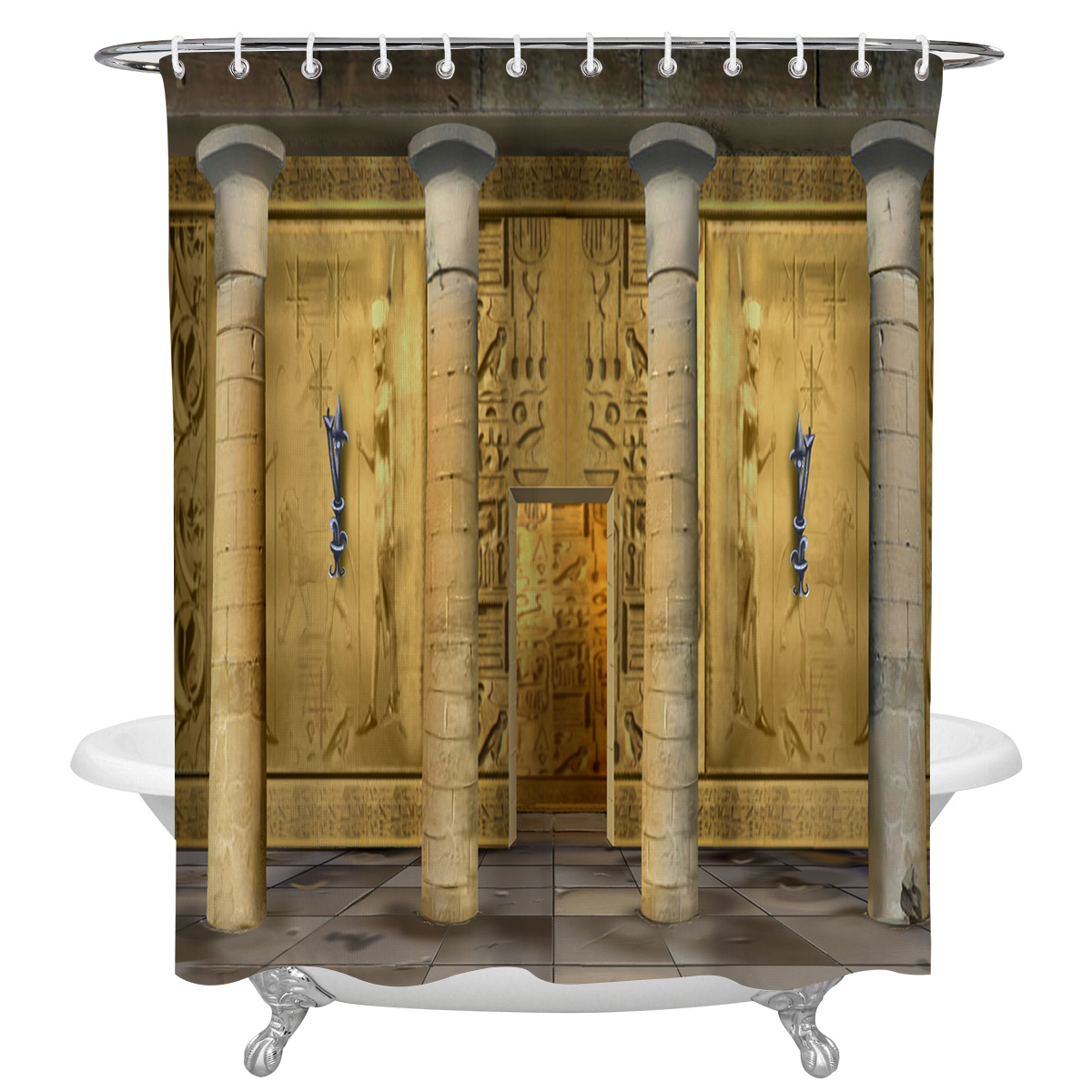 Fundo egípcio cortinas de chuveiro à prova dwaterproof água para casa de banho decoração poliéster tecido multi-tamanho cortina de chuveiro
