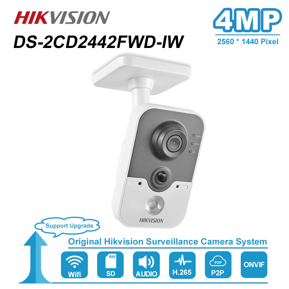 Hikvision 4MP IR Cube HD Audio Microphone Wifi IP Camera Onvif Home Security Surveillance Night Vision Camera DS-2CD2442FWD-IW