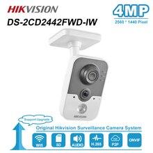 Hikvision 4MP IR Cube HD Audio ไมโครโฟน WiFi IP กล้อง ONVIF การเฝ้าระวังความปลอดภัย Night Vision กล้อง DS 2CD2442FWD IW