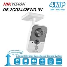 Hikvision 4MP IR Cube HD Audio micrófono Wifi IP Cámara Onvif seguridad del hogar vigilancia visión nocturna Cámara DS 2CD2442FWD IW