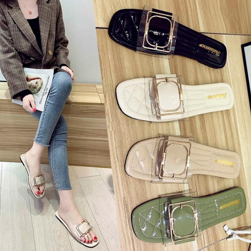 2020 summer new flat bottom transparent square buckle slippers wear non slip and versatile women's slippers at home and abroad