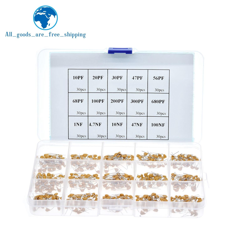Boîte d'assortiment de condensateurs en céramique, 50v, multicouches, 10pf à 100nf, Kit de condensateurs pour composants électroniques, 15 valeurs, 450 pièces, 024