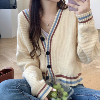 Women Knitted Cardigans Korean Chic Autumn Loose Short V-Neck Striped Sweater Female Casual Retro Coat Knitwear Tops