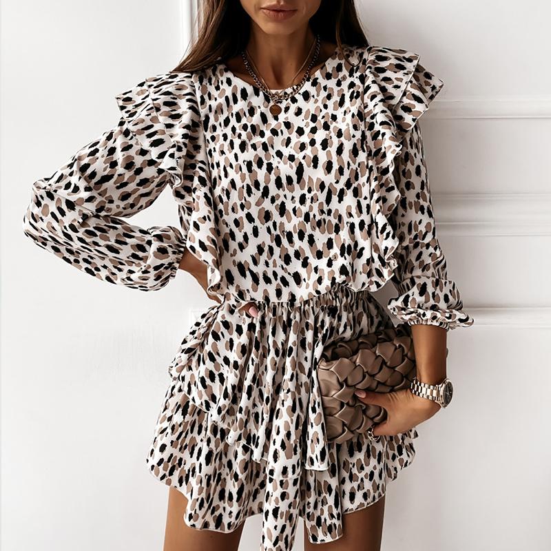 Autumn Cascading Ruffle Floral Dress Women Casual Long Sleeve A Line Leopard Print Dress Boho Female Elegant Mini Party Vestidos
