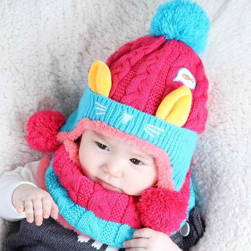 เด็กฤดูหนาวหมีน้อยหมวกและชุดผ้าพันคอเด็กอบอุ่นถักอะคริลิคป้องกันหูหมวกผ้าพันคอชุด 2 ชิ้น/เซ็ต