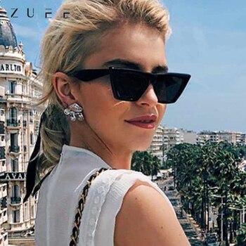 ZUEE Retro Cat Eye Sonnenbrille Männer/Frauen Marke Designer Sonnenbrille Für Mann Frau Stilvolle Randlose Brillen Vintage UV400