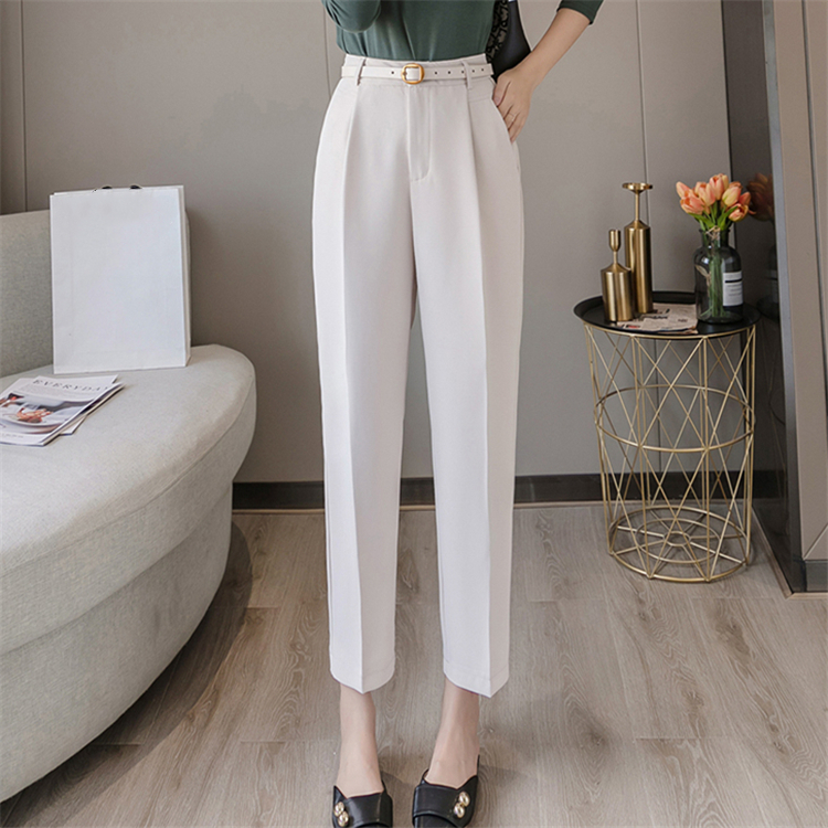 Hb214a87bd8264269a85054d4f2119181J - Colorfaith New Spring Winter Women Pants High Waist Loose Formal Elegant Office Lady Ankle-Length With Belt Pants P7223