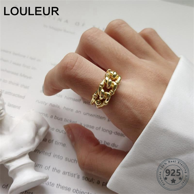 925 Sterling Silver Industry Wind Open Rings Gold Fashion Irregular Twist Crud Chain Adjustable Rings For Women Fine Jewelry