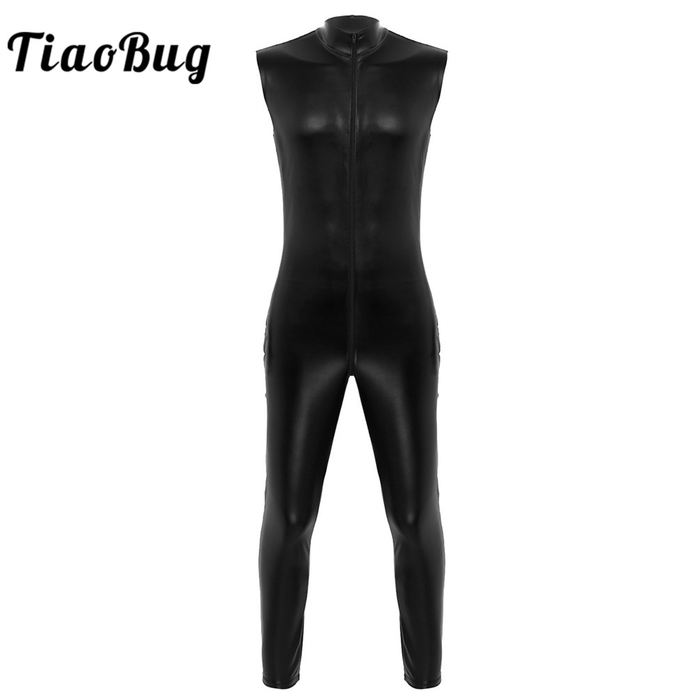 <font><b>Mens</b></font> Adults One-piece Wet Look Faux Leather High Neck Sleeveless Skin-Tight Unitards Jumpsuit Clubwear <font><b>Latex</b></font> <font><b>Catsuit</b></font> Male Zentai image