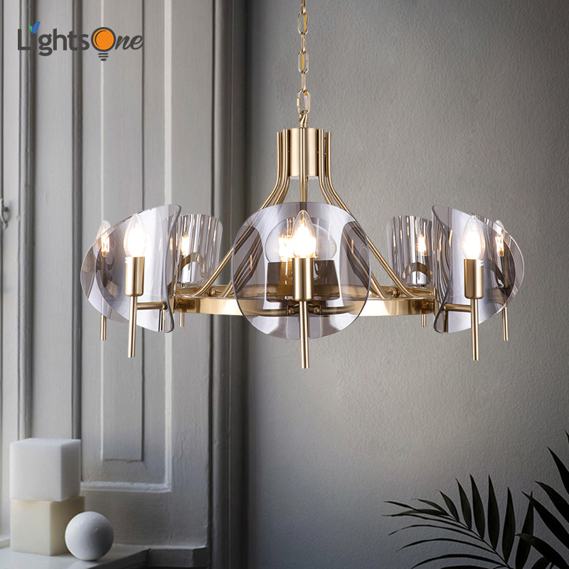 Post-modern Light Luxury Chandeliers Personality Glass Duplex Villa Dining Room Living Room Chandeliers