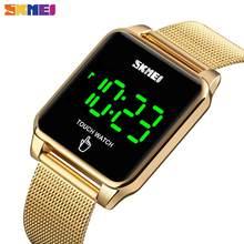Часы наручные SKMEI мужские изогнутые, светодиодные сенсорные водонепроницаемые модные цифровые из нержавеющей стали, с зеркальным покрытие...