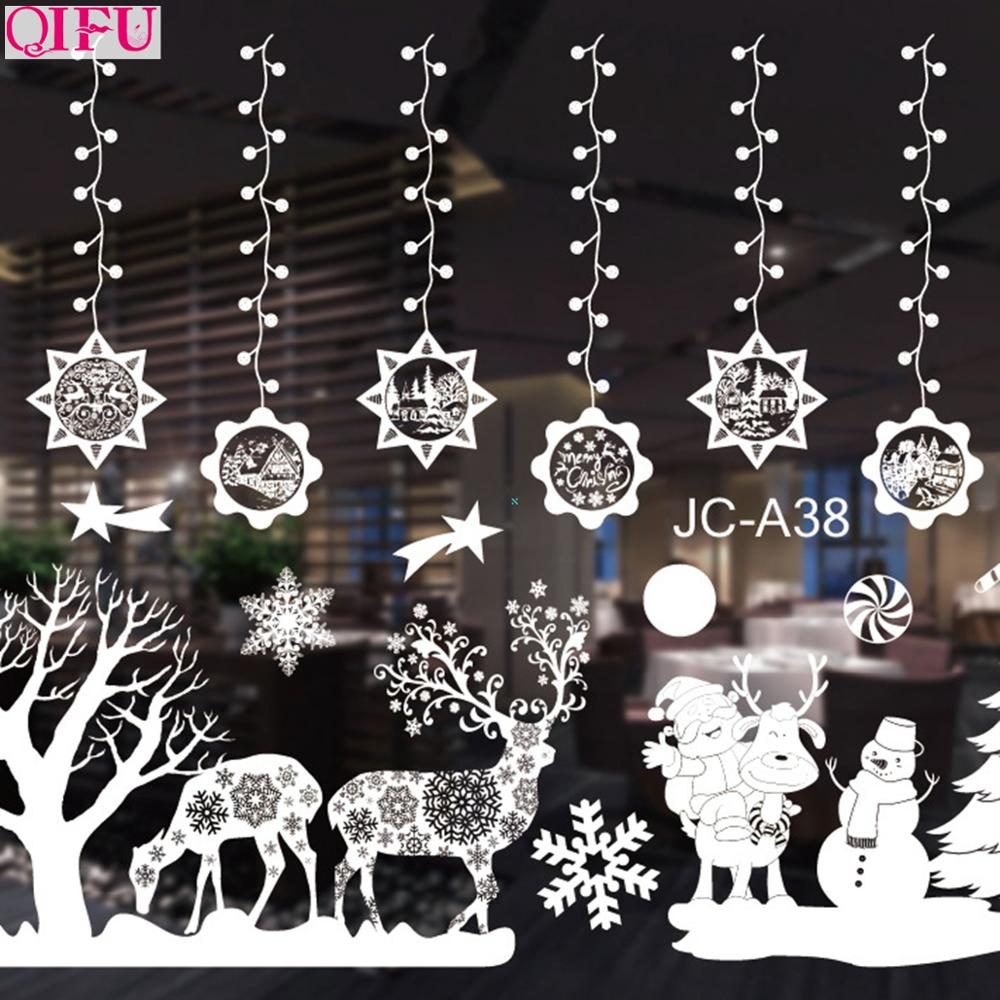 QIFU Christmas Window Stickers Merry Christmas Decorations For Home Xmas Decor 2019 Christmas Wall Stickers Happy New Year 2020