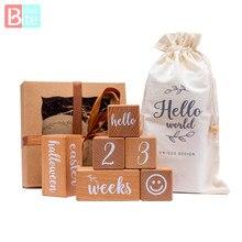6Pcs/1Set Baby Milestone Beuken Blok Plein Gegraveerd Pasgeboren Geboorte Maand Verjaardag Mijlpalen Blok Fotografie Tool Accessoires