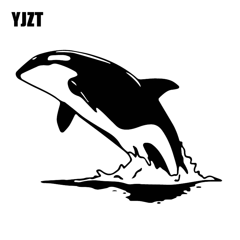 YJZT 14CM*18.7CM Handsome Cool Whale Sticker Home Decoration Car Body Decal Black/Silver C30-0122