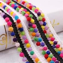1yard/Lot Tassel Lace Ribbon Pompom Trim Ball Silk Fringe Fabric Pom Sewing Garment Shoes Apparel Accessory