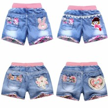 Denim Shorts Pants Lace Girls Teen Children's Summer Fashion Floral Wild