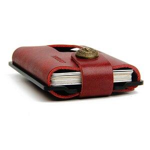 Image 3 - ZEEKER металлический держатель для карт, кошельки для кредитных карт, Кожаный минималистичный кошелек, кошелек с передним карманом цвета хаки