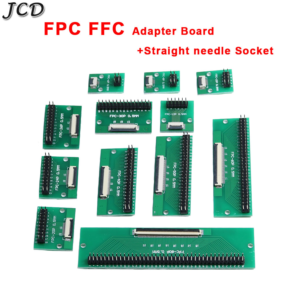 JCD DIY FPC/FFC adapter board 0.5mm Pitch connector Double row straight needle Socket 6 8 10 12 <font><b>20</b></font> <font><b>24</b></font> 26 30 40P 50 60 80 <font><b>Pin</b></font> image