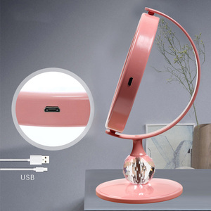 Image 4 - LED 미러 메이크업 미러 터치 스크린 럭셔리 미러 3 광도 LED 조명 180 학위 조절 테이블 화장 거울