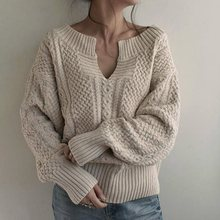 Women Winter Knitted Sweater Female Autumn V Neck Sexy Casual Loose Solid Color Pullovers Knitwear OL Tops Jumper pull femme new autumn winter sexy midriff baring sweaters loose solid knitted pullovers casual deep v neck sweater knitwear