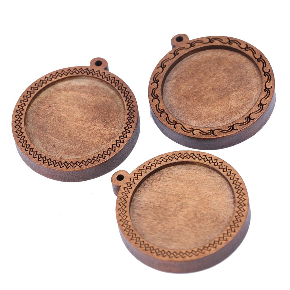 Onwear 5pcs Fit 25mm Wood Cabochon Base Settings Diy Blank Pendant Trays For Necklace Keychain Making