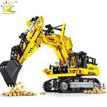 HUIQIBAO 841pcs 크롤러 굴착기 빌딩 블록 기술 도시 공학 건설 벽돌 아이들을위한 장난감 소년 선물