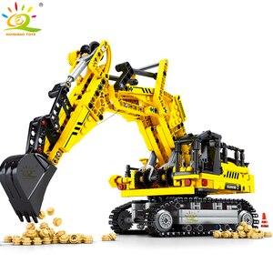 Image 1 - Huiqibao 841 peças escavadora de esteiras blocos de construção técnica cidade engenharia construção tijolos brinquedos para crianças menino presente