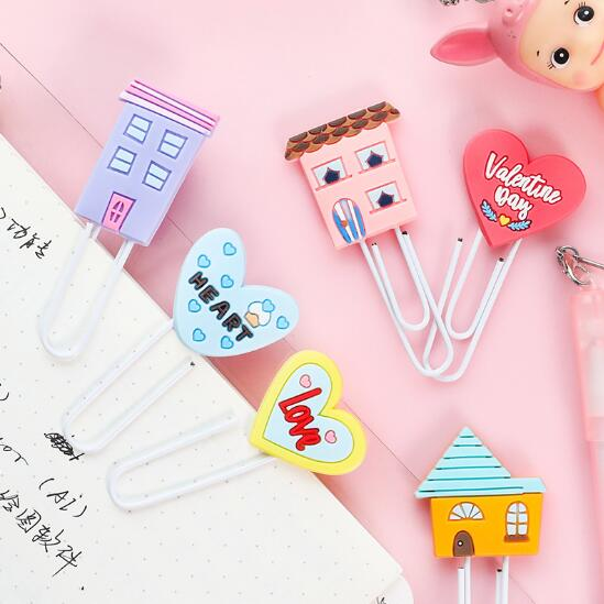 New 9pcs/lot Creative Kawaii Cat Animal Metal Paper Clip Silicone Bookmark Decorative File Document Memo Clips School Stationery