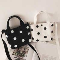 Fashion Vintage Women Canvas Handbags 2019 New Arrival Female Casual Polka Dot Zipper Simple Shoulder Bags