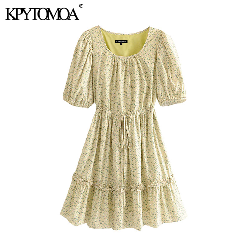 KPYTOMOA Women 2020 Chic Fashion Floral Print Ruffled Mini Dress Vintage Drawstring Tied With Lining Female Dresses Vestidos