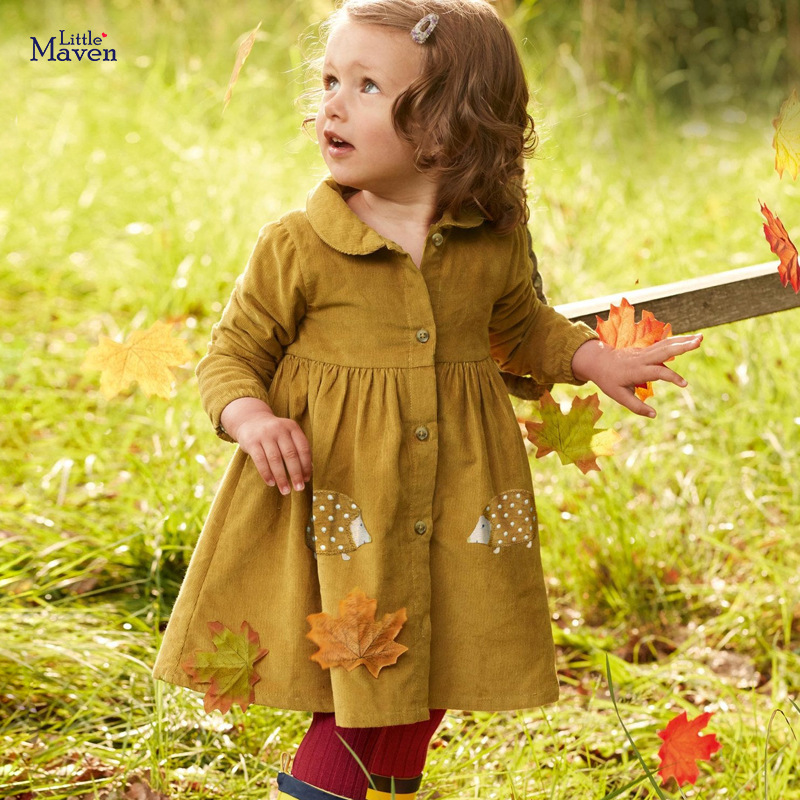 Pouco maven 2020 outono bebê meninas roupas vestido de marca animal crianças veludo vestido de inverno peter pan colarinho vestido com botão