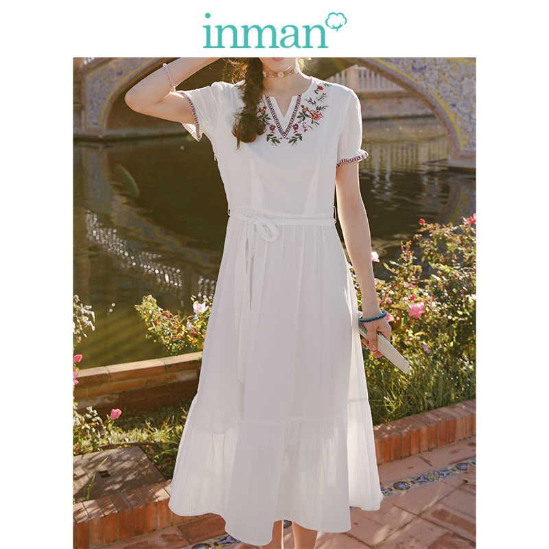 Inman o-boyun Retro elbise kısa kollu bir çizgi pamuk elbise yaz orta Claf nakış bayan elbise