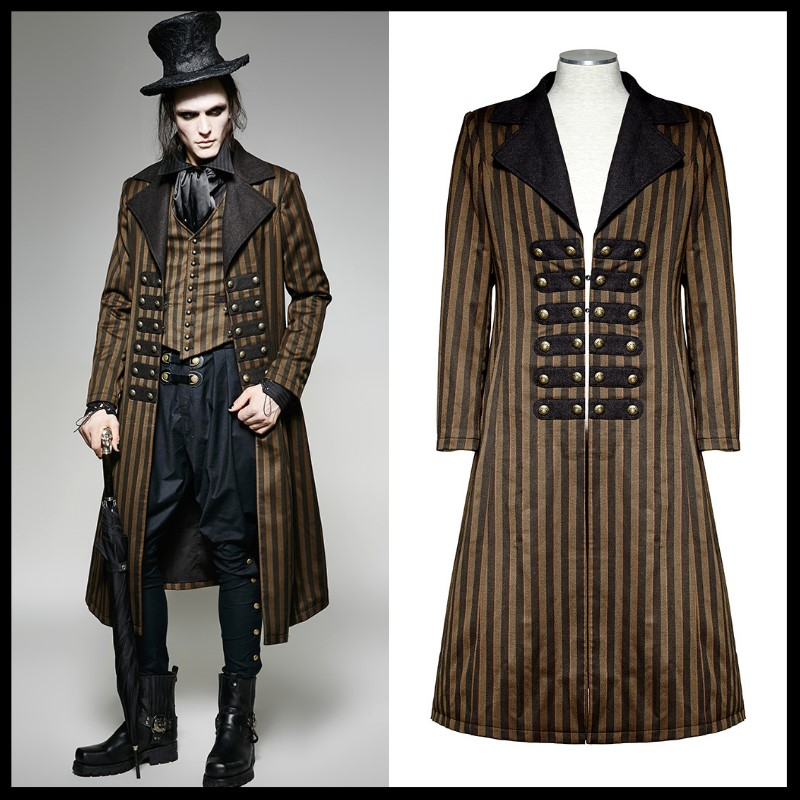 Punk Rave Mens Mens Jackets and Coats  Gothic Steampunk Victorian Long Coat Jacket Fashion Clothes Steage Performance Costume