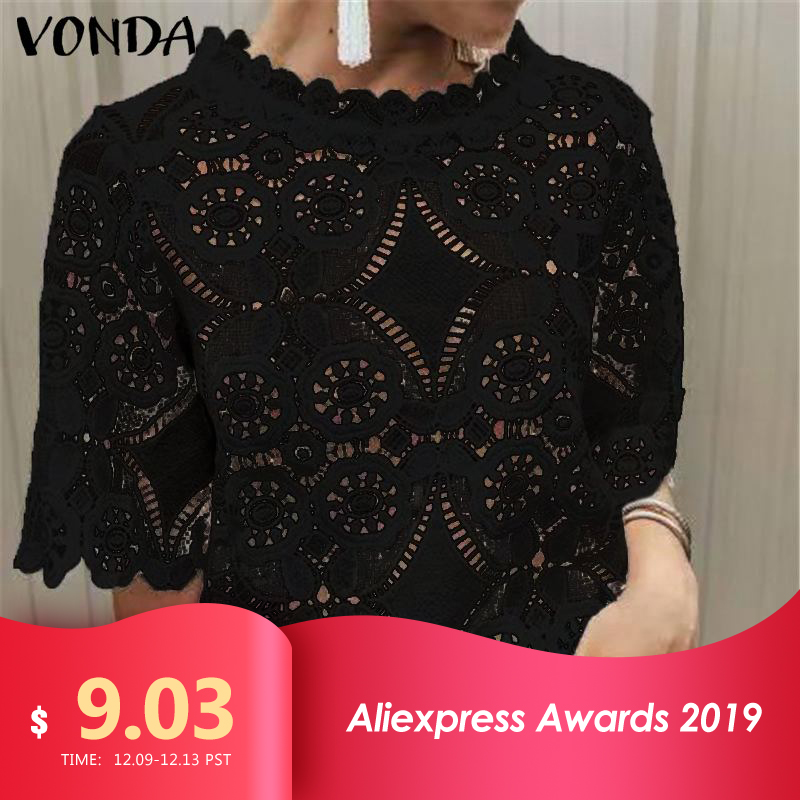 Vintage VONDA 2019 Summer Autumn Sexy Blouse Evening Party Blusas Women 5XL Bohemian Tops Casual Office Ladie Shirts Tunic Plus