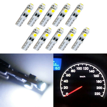 цена на 10pcs Car dashboard light  White LED Wedge Bulb Light 6000K 58 70 73 74 T5 Dashboard Gauge 3 3528 SMD