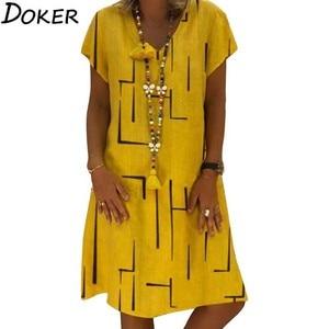 2020 Summer Loose Casual Dress Women Print V-neck Short Sleeve Plus Size Midi Dresses Woman Large Size Beach Boho Yellow Dress(China)