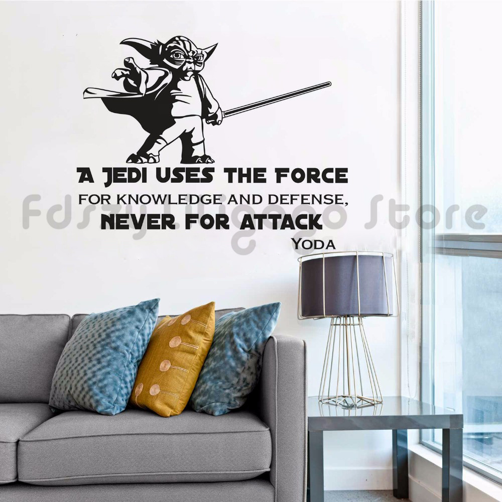 Master Yoda Wall Decal Star Wars A Jedi Vinyl Wall Sticker Home Decoration Star Wars Removable Wallpaper Yado Quote Mural Q43 Wall Stickers Aliexpress