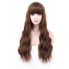 COSYCODE Brown Wig with Bangs Long Wavy Curly Wig Natural Wave 26 inch Non Lace Synthetic Cosplay Women Wig Costume Party
