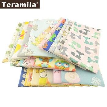 Teramila-tela de algodón con diseño de animales para niños, 100%, Patchwork, manualidades,...