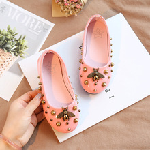 2019 Autumn Children Shoes Girls PU Leather Fashion Little Bee Flat Princess Kids Baby Non-slip