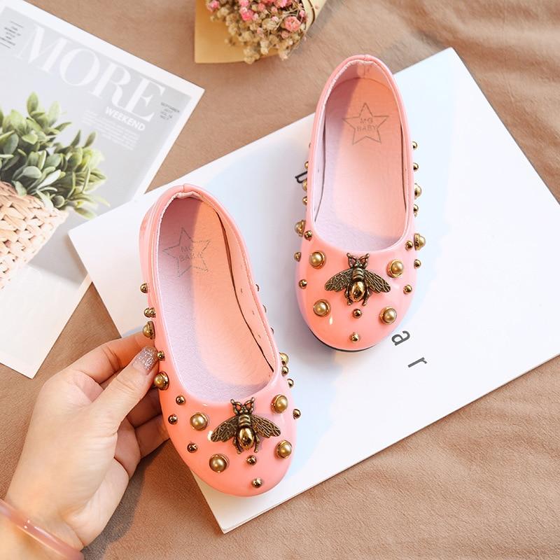 2020 Autumn Children Shoes Girls PU Leather Shoes Fashion Little Bee Flat Princess Shoes Kids Baby Non-slip Kids Princess Shoes