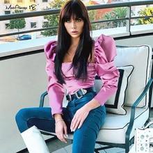 Mnealways18 Elegant Satin Puff Sleeve Top Sexy Women Silk Blouse