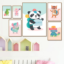 Panda Turtle Elephant Bunny Cartoon Wall Art Print Canvas Painting Nordic Posters And Prints Pictures Baby Kids Room